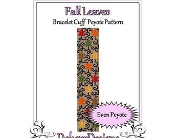 Bead Pattern Peyote(Bracelet Cuff)-Fall Leaves