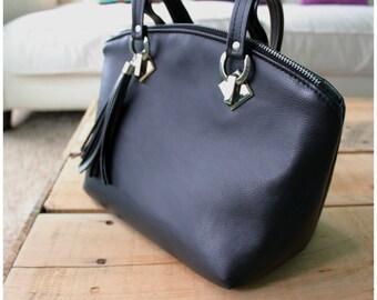 Lola bag - black recycled leather bag - shoulder bag -black handbag - black purse - handmade purse
