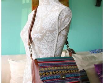 Saddle bag - Aztec saddle bag - Aztec bag - leather bag - recycled leather crossbody bag - crossbody bag - Aztec croddbody bag - hipster bag