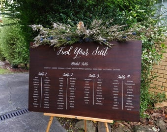 Handpainted Wooden Wedding Reception Seating Sign Chart Plan Board - Find your seat