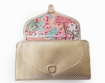 Gold leather wallet, Gold wallet for women, Women's wallet, Handmade wallet