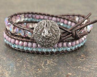 Bunny Bracelet Rabbit Jewelry Turquoise Purple Lavender Bunny Jewelry Beaded Leather Rabbit Bracelet Bunny Gift