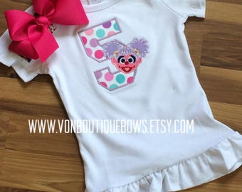 Purple pink Monster polka dot bow Personalized Boutique Number Birthday First 1st 2T 3 4 5 6 8 Girls Applique Short Long Sleeve Tank