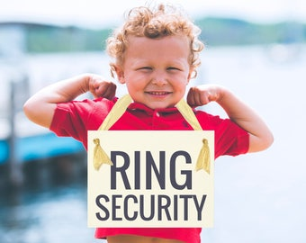 Ring Security Funny Wedding Sign Hanging Ring Bearer Banner {Dog or Child} Paper Graphic Ribbon Handmade in USA Modern Block Font 1051 BW