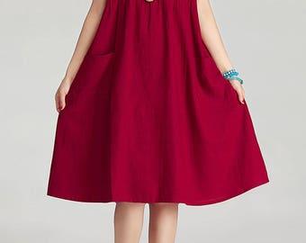 Round Neck Maxi Dress - Summer Dress in Purple- Linen Sundress for Women-Short Sleeved