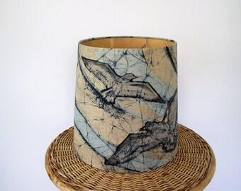 Vintage lamp shade/ tie dye blues with birds/ boho decor/ fabric shade