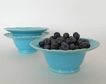 Franciscan Ware Sherbet Bowl Set of 3 Coronado Swirl Aqua Gloss 1940s