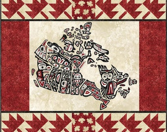 Oh Canada Sixes Table Mat  Quilt Kit, 4975-0, Canada table mat, Canada wall quilt, Canada wall hanging