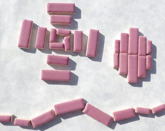 """Mauve Mini Rectangles Mosaic Tiles - 50g Ceramic in Mix of 3 Sizes 3/8"""" and 5/8"""" and 3/4"""" in Dark Rose Pink"""