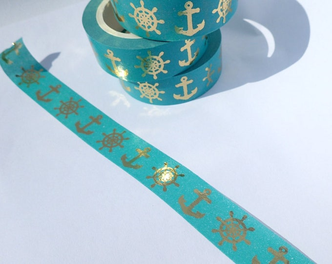 Nautical Foil Washi Tape - Anchors and Ship Steering Wheel Paper Tape Great for Scrapbooking Paper Crafts and Mixed Media - 15mm x 10m