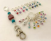 0-99 Rainbow Number Row Counter System with Holder | Numbered Piggyback Snag Free Stitch Markers | Gifts for Knitters
