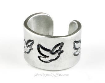 SALE - Dove Ear Cuff - Aluminum Stamped Ear Cuff