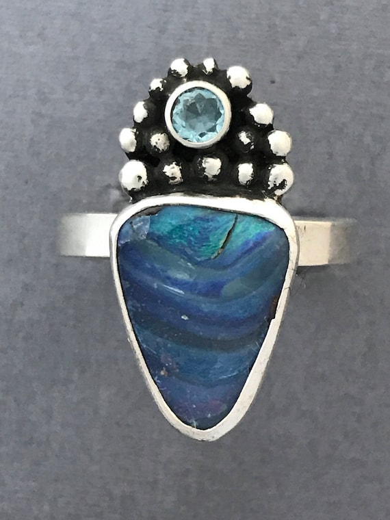 Oh so pretty Australian boukder opal and topaz ring!