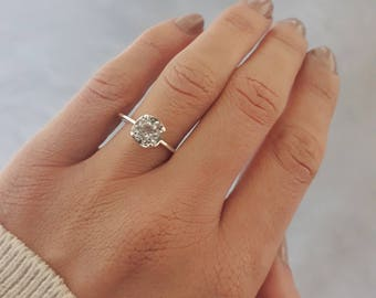 round white topaz engagement ring dainty ring 7mm prong setting - Wedding Rings On Hands
