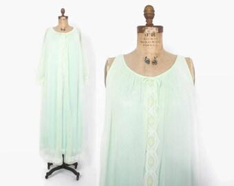 Vintage 60s Nightgown & Peignoir SET / 1960s Sheer Mint Green Miss Elaine Double Chiffon Lace Trim Set