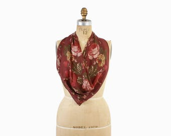 Vintage RALPH LAUREN Silk SCARF / 1990s New With Tags Silk Rose Floral Scarf