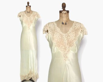Vintage 40s Satin NIGHTGOWN / 1940s Key Lime Satin & Lace Full Length Bias Cut Slip Dress S - M