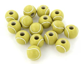 10 Tennis Ball Beads Great for Sports Designs -  K239