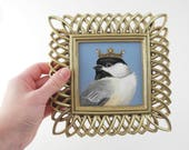 Chickadee painting - bird with crown - royal songbird painting with ornate metallic gold and French blue - chickadee art original