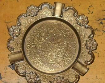 Round Brass Ashtray with Flower Design - Vintage Ashtray