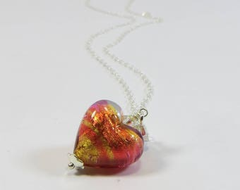 Murano Heart Necklace, Orange Peach 24kt Goldfoil Venetian Murano Heart Pendant Necklace w Swarovski Crystal & 925 Silver Chain and Clasp