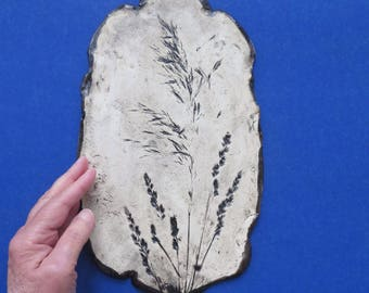 Ceramic Weed Imprint Wall Hanging Rustic Clay Home Decor Organic Flower Wall Art Earthy Pottery Picture