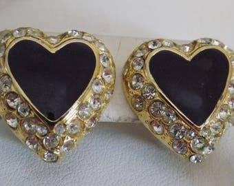 Vintage earrings, black enamel and crystal heart clip-on earrings, retro jewelry