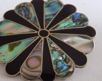 Vintage brooch/pendant, signed Alpaca Mexico abalone and onyx floral brooch pendant, Mexican jewelry