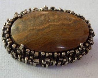 Vintage brooch, signed MIRACLE brown striped agate and silver tone rugged frame Scottish/Celtic  brooch