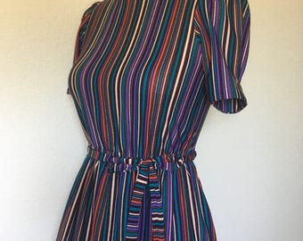 Vintage pinstriped dress 1970s 1980s, retro striped dress, 70s midi dress 80s, turquoise purple striped, vtg belted dress, size S small XS
