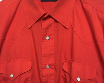 Vintage red western shirt men's L large, long sleeve western snap shirt, cowboy rodeo red dress shirt, Rockabilly red pearl snap Large 48 XL