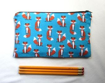 Foxes on Blue Fabric Zipper Pouch / Pencil Case / Make Up Bag / Gadget Sack