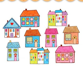 Clip art Small Little Houses. Colorful hand drawn house images for instant download. Digital clipart.