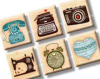 I Heart Machines scrabble tile images 0.75x0.83 inch two 4x6'' vintage Collage Sheets. Digital download sewing machine, camera, photo camera