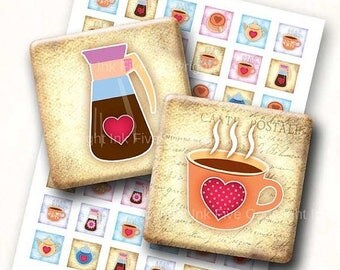 Coffee Time 1 inch squares Printable Images. 1x1 inch digital download images for scrapbooking. Coffee decors 1x1 inch square