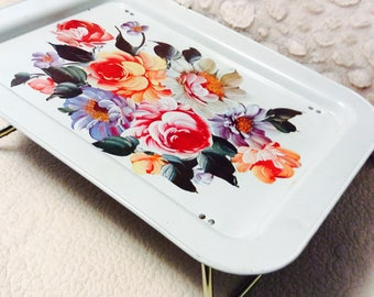 Vintage Floral Lap Tray Hand Painted Metal 1960s TV Tray Bendable Legs