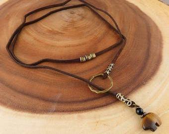 SALE! Leather Lace Wrap Necklace with Tiger Eye and Black Onyx pendant (462)