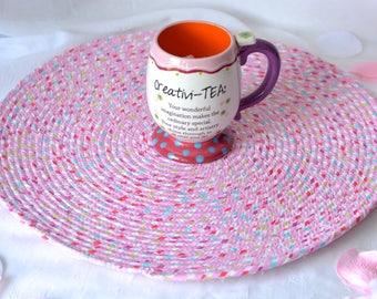 "Swirl Place Mat, Handmade Hot Pad, Lovely Table Mat, Pink Potholder, 16"" Place Mat, Modern Summer Table Topper, Candy Land Pink Trivet"