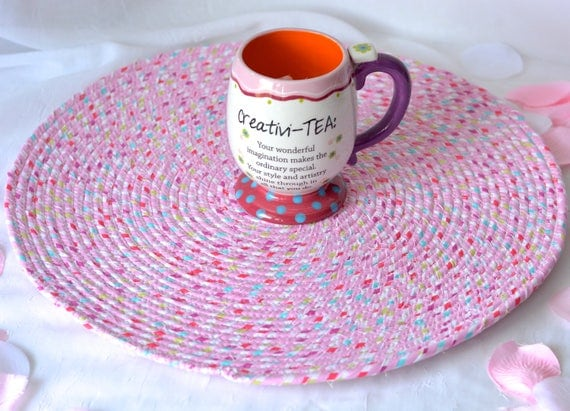 "Swirl Place Mat, Handmade Hot Pad, Lovely Table Mat, Pink Potholder, 16"" Place Mat, Modern Summer Table Topper, Candy Land Pink Trivet"