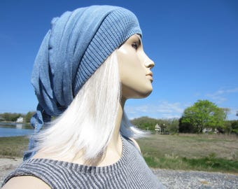 Women's Knit Hats Slouchy Beanie Bohemian Clothing Slouch Tam Chambray Blue Cotton Rose Rag Tie Back   A1667