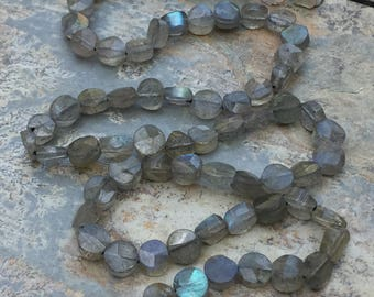 Labradorite Beads, Labradorite Coin Beads, Faceted Labradorite Beads, Grade A, Choose 5 or 5.5 mm, 14 inch strand