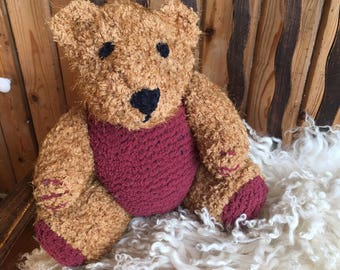 CUSTOM LISTING for Liz, Teddy for Noah.  knitted Teddy, extra soft plush,  knitted toy, hand knit