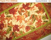 Sale Christmas in July Autumn Table Runner, thanksgiving,  quilted focus fabrics from Timeless Treasure