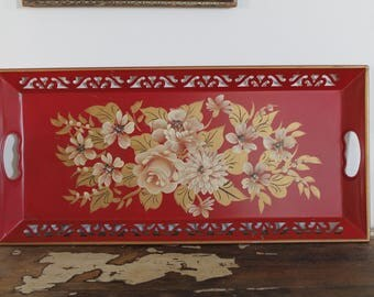Vintage Reticulated Hand Painted Tole Tray