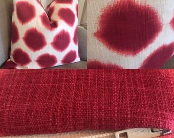 Raspberry Ikat dot 18x18 pillow cover