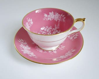 Vintage Tea Cup and Saucer by Aynsley, Pink Teacup and Saucer