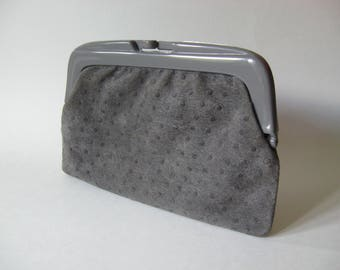 Grey ostrich suede leather purse clutch plastic clasp vintage purse made in Italy