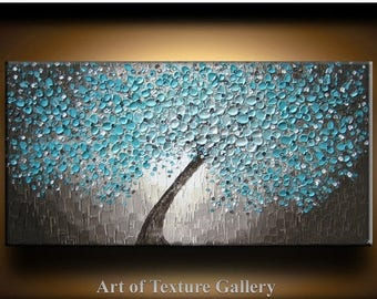 SALE Painting Abstract Texture Large Oil Impasto Original Modern Aqua Teal Beige Brown White Tree Floral Texture Knife Painting by Je Hlobik