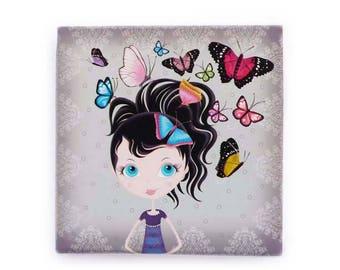 """Petit tableau carré """"Des papillons dans les cheveux"""", gris, cadeau fille, déco chambre d'enfant, toile imprimée"""