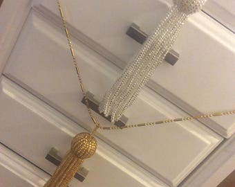 Gold or silver beaded tassel necklace 9 karat gold plated chain no flaws
